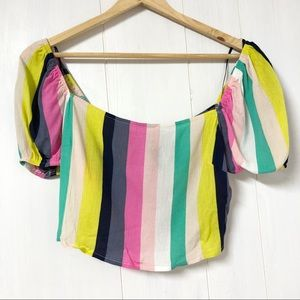 Forever 21 Multi Colour Stripe Crop Top Size S NWT